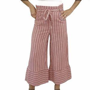 hP] CATHY RED STRIPE HIGH WAIST PAPER BAG WIDE LEG